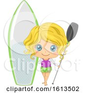 Kid Girl Paddleboarding Illustration