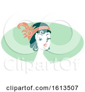Woman Wearing A Flapper Headdress