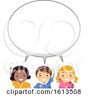 Stickman Kids Big Speech Bubble Illustration