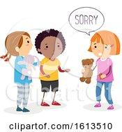 Poster, Art Print Of Stickman Kids Broken Toy Sorry Illustration