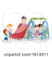 Poster, Art Print Of Stickman Kids Indoor Playground Illustration
