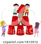 Poster, Art Print Of Stickman Kids Cups Tower Illustration