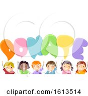 Stickman Kids Donate Speech Bubbles Illustration