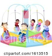 Poster, Art Print Of Stickman Kids Indoor Merry Go Round Illustration