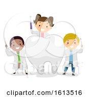 Poster, Art Print Of Stickman Kids Little Dentist Tooth Illustration