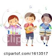 Poster, Art Print Of Stickman Kids Music Instruments Illustration