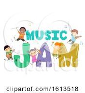 Stickman Kids Music Jam Illustration