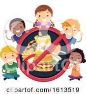 Poster, Art Print Of Stickman Kids No To Junk Foods Illustration