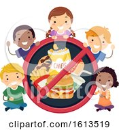 Stickman Kids No To Junk Foods Illustration