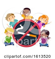 Stickman Kids No To Smoking Illustration
