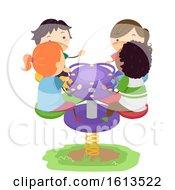 Poster, Art Print Of Stickman Kids Play Four Way Rocker Illustration