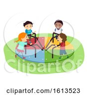 Poster, Art Print Of Stickman Kids Playground Spinning Wheel