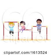Stickman Kids Playground Triple Horizontal Bar