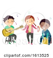 Poster, Art Print Of Stickman Kids Play Instruments Acoustic
