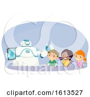 Stickman Kids Robot Explain Tablet Illustration