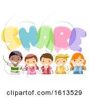 Poster, Art Print Of Stickman Kids Share Speech Bubbles