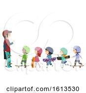 Poster, Art Print Of Stickman Kids Skateboard Trainer Illustration