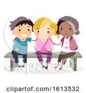 Stickman Kids Sobbing Cheer Up Illustration