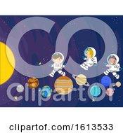 Poster, Art Print Of Stickman Kids Space Planet Play Illustration