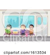 Poster, Art Print Of Stickman Kids Subway Ride Illustration