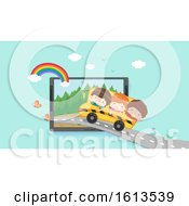 Poster, Art Print Of Kids Virtual Field Trip Laptop Illustration