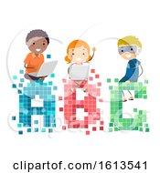 Poster, Art Print Of Stickman Kids Pixels Illustration