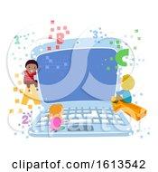 Poster, Art Print Of Stickman Kids Laptop 123 Illustration