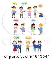 Stickman Kids Possessive Pronouns Illustration