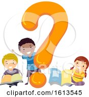 Stickman Kids Question Mark Books Illustration