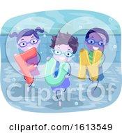 Poster, Art Print Of Stickman Kids Under Water Swim Illustration