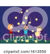 Poster, Art Print Of Stickman Kids Falling Stars Illustration
