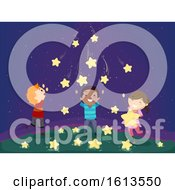 Stickman Kids Falling Stars Illustration