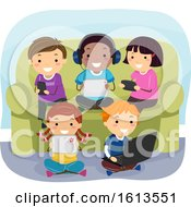 Poster, Art Print Of Stickman Kids Gadgets Couch Illustration
