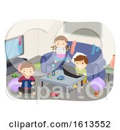 Stickman Kids Gadgets Messy Room Illustration