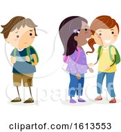 Stickman Kids Gossiping Illustration