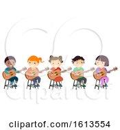 Poster, Art Print Of Stickman Kids Guitar Tutorial Class Illustration