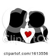 Silhouette Girls Lesbian Couple Illustration