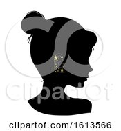 Silhouette Girl Ear Studs Illustration