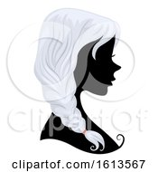 Silhouette Girl Gray Hair Illustration