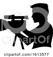 Silhouette Man Video Camera Illustration
