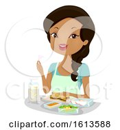 Girl Bento Meal Prepare Illustration