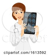 Girl Neurologist Head Xray Illustration