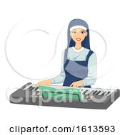 Girl Nun Keyboard Illustration