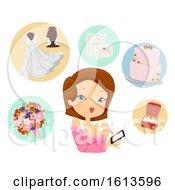 Girl Prepare Wedding Mobile App Illustration