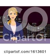 Girl Newscaster Illustration