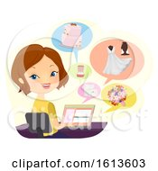 Poster, Art Print Of Girl Wedding Coordinator Online Illustration