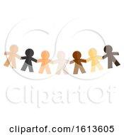 Poster, Art Print Of Paper Dolls Race Unity Illustration
