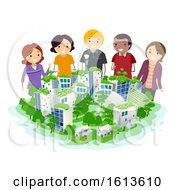 Stickman Plan Sustainable City Illustration