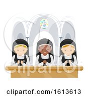 Stickman Girls Nun Pray Church Illustration