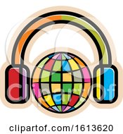 Poster, Art Print Of Colorful Globe Wearing Headphones